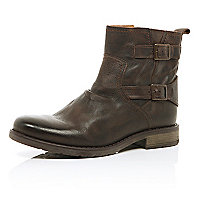 Dark brown leather buckle trim military boots