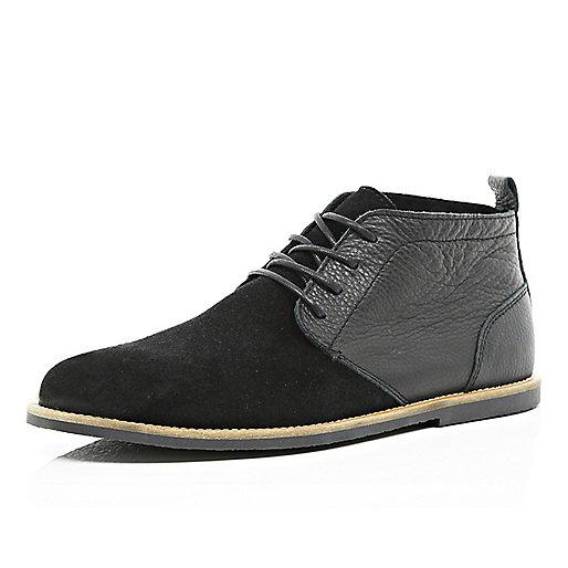 Black contrast panel desert boots