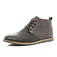Brown contrast panel desert boots