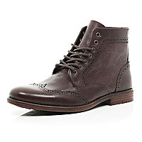 Dark red leather brogue boots