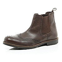 Dark brown brogue boots
