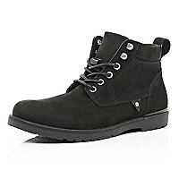Black nubuck worker boots