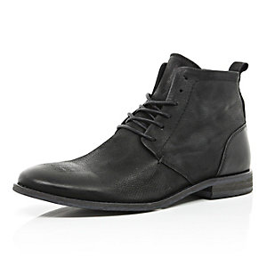 Black leather lace up worker boots
