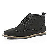 Black brogue desert boots