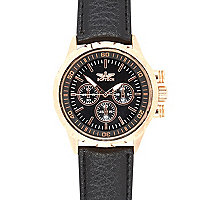 Black classic rose gold tone face watch