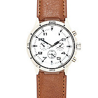 Tan small round watch