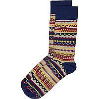 Navy aztec print socks