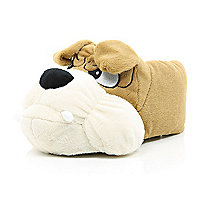 Brown boxer dog slippers