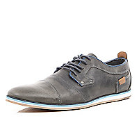 Grey leather lace up casual shoes