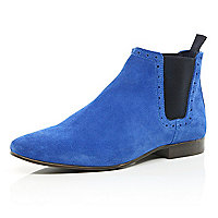 Bright blue Chelsea boots