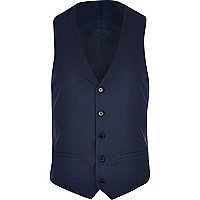 Blue single breasted waistcoat