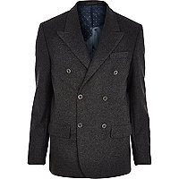 Dark grey Design Forum bonded wool blazer