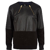Black Design Forum contrast panel sweatshirt
