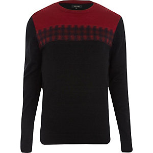 Red check panel knitted jumper