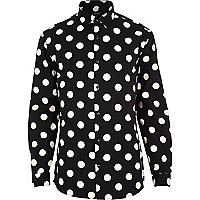 Black polka dot long sleeve shirt