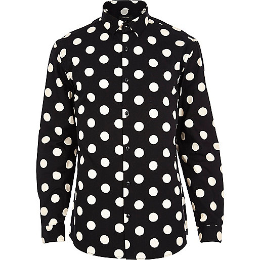 Black polka dot long sleeve shirt