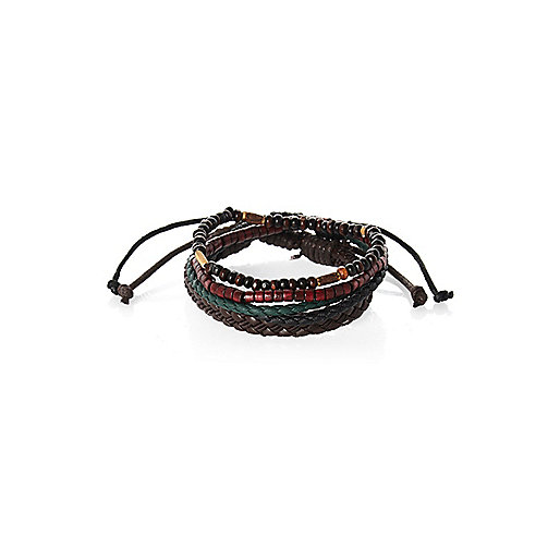 Brown beaded and leather bracelet pack