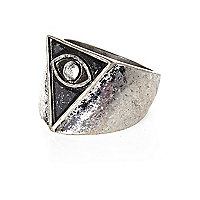 Silver tone triangle eye ring