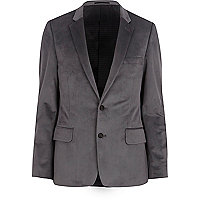 Grey velvet suit blazer