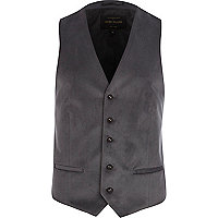 Grey velvet single breasted waistcoat