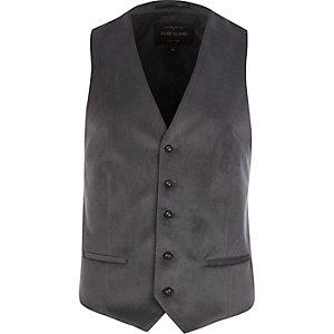 Grey velvet smart waistcoat