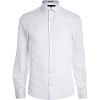 White jacquard long sleeve shirt