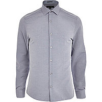 Grey jacquard long sleeve shirt