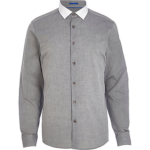 Grey chambray contrast collar shirt
