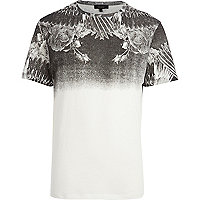 White ombre wing print t-shirt
