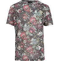 Black floral print burnout t-shirt