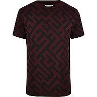 Dark red maze print t-shirt