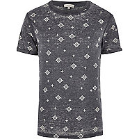 Dark grey aztec print burnout t-shirt