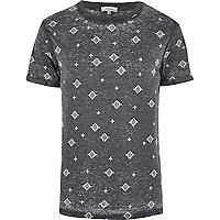 Dark grey aztec print burnout t-shirt