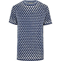 Blue triangle print short sleeve t-shirt