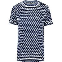 Blue triangle print short sleeve t-shirt