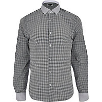 Black gingham contrast collar shirt