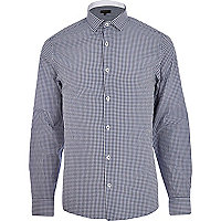 Navy blue gingham long sleeve shirt