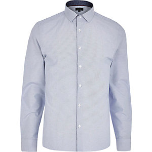 Light blue spotted stripe long sleeve shirt
