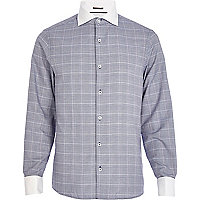 Navy check contrast cut away collar shirt