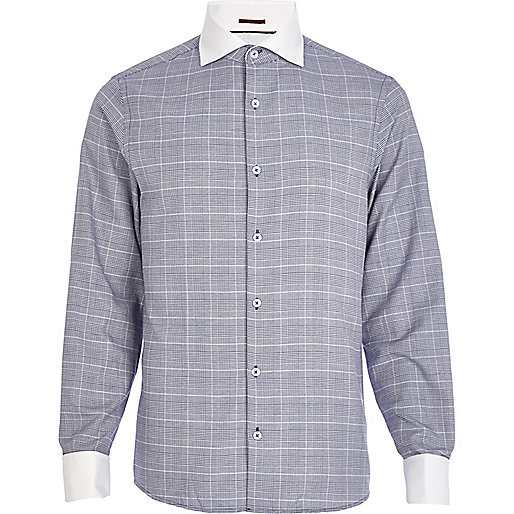 Navy check contrast cut away collar shirt