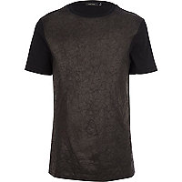 Black leather-look front t-shirt