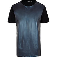 Blue leather-look front t-shirt