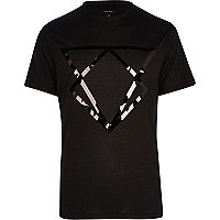 Black mirrored triangle print t-shirt