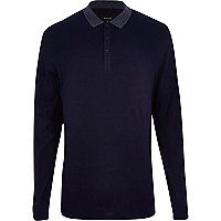 Navy blue contrast collar polo shirt