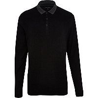 Black contrast collar long sleeve polo shirt