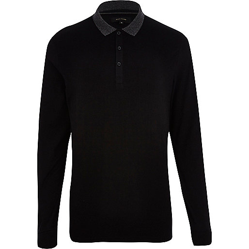 Black contrast collar long sleeve polo shirt