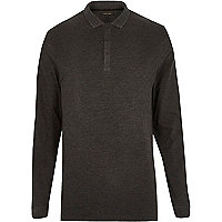 Grey long sleeve basic polo shirt