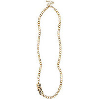 Gold tone beaded chain necklace