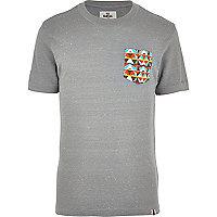 Grey Bellfield neppy aztec pocket t-shirt