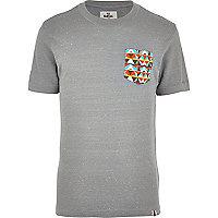 Grey Bellfield neppy aztec pocket t-shirt